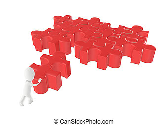 3d character , man moving a jigsaw to solve a puzzle