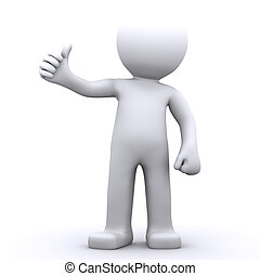 3d character man showing thumbs up. Isolated onwhite...