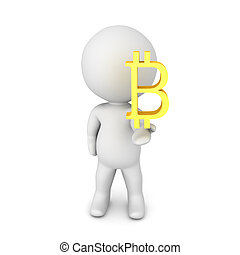 3D Character offering a a bitcoin symbol