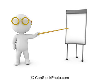 3D Character pointing on a small whiteboard. Isolated on...