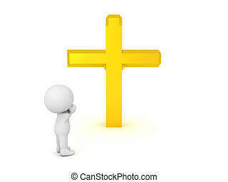 3D Character praying to golden cross