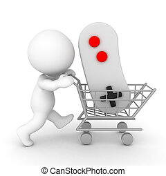 3D Character pushing shopping cart holding video game...