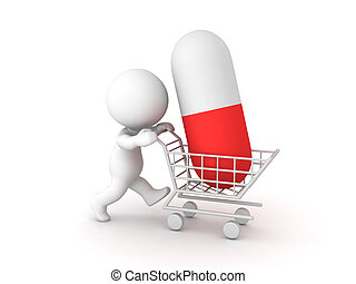 3D Character pushing shopping cart with red white capsule