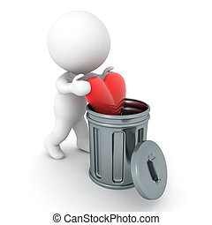 3D Character putting red heart in a garbage can
