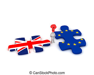 3D Character Questioning Puzzle Pieces with British Flag and European Union