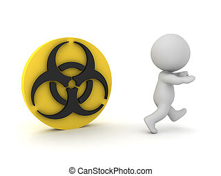 3D Character running away from biohazard symbol