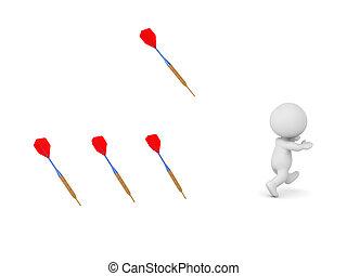 3D Character Running Away from Dart Arrows