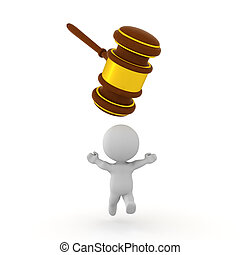 3D Character running away from gavel which is trying to ...