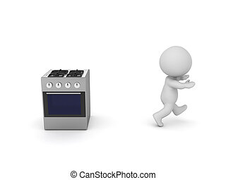 3D Character running away from stove