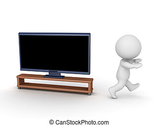 3D Character Running Away from TV