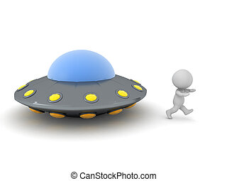 3D Character running away from UFO