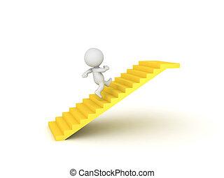 3D Character running on golden stairway