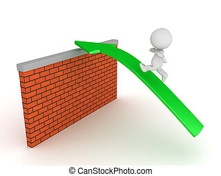 3D Character running on green arrow over brick wall
