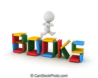 """3D Character running on top of """"books"""" sign made up of books"""