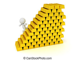 3D Character Running Up Stairs Made of Gold Bars