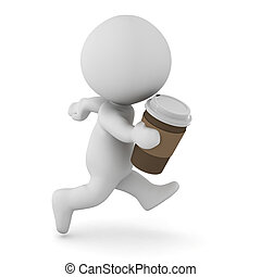3D Character Running with Coffee Cup in His Hand