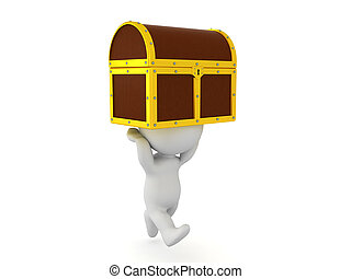 3D Character running with treasure chest held above him....