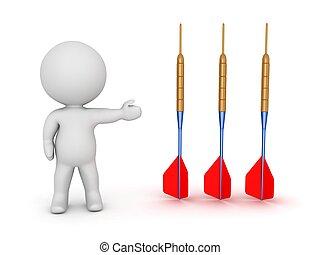 3D Character Showing 3 Dart Arrows