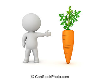 3D Character showing a carrot