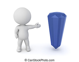3D Character Showing a Crystal