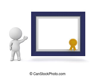 3D Character Showing a Diploma Frame