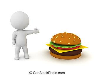 3D Character showing a hamburger