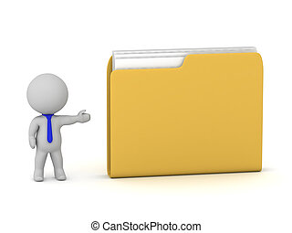 3D Character Showing a Large File Folder