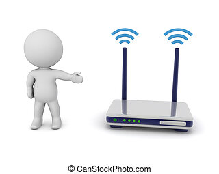 3D Character showing a router