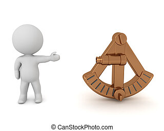 3D Character showing a sextant