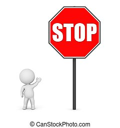 3D Character Showing a stop sign