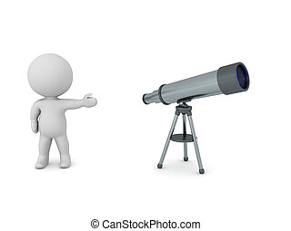 3D Character showing a telescope