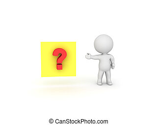 3D Character showing a yellow sticky note with red question mark