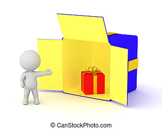 3D Character Showing an Open Gift Box with a Smaller Gift Inside