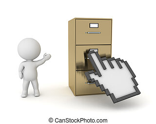3D Character Showing Archiving Cabinet and Hand Click Cursor