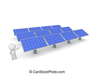 3D Character Showing Array of Solar Panels