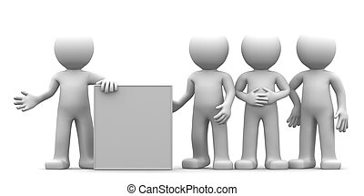 3D character showing blank banner to the goup of people. ...