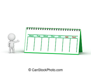 3D Character Showing Calendar with Spiral Binding - A 3D...