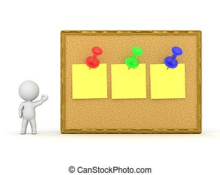 3D Character Showing Cork Board