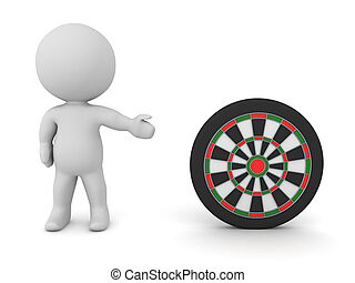 3D Character showing darts target