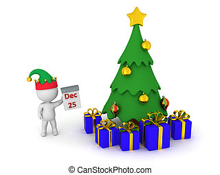 3D Character Showing December 25th, Christmas Tree, and Wrapped Gift Boxes