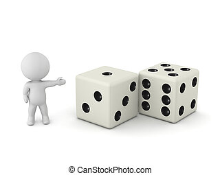 3D Character Showing Dice