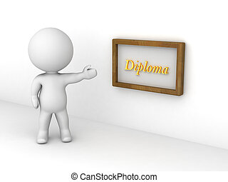 3D Character Showing Diploma