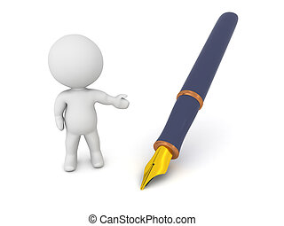 3D Character Showing Fountain Pen - A 3D character showing a...