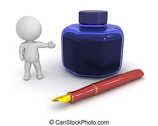 3D Character Showing Fountain Pen and Ink Pot - A 3D...