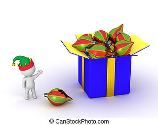 3D Character Showing Gift Box with