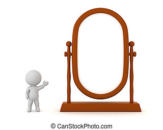 3D Character Showing Large Mirror