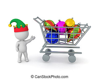 3D Character Showing Large Shopping Cart with Decorative Globes