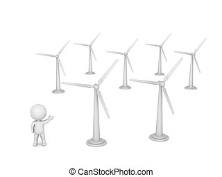 3D Character Showing Many Wind Trubines