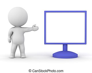 3D Character showing monitor
