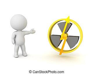 3D Character showing nuclear power logo